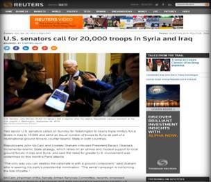 وكالة (رويترز) : عضوان بمجلس الشيوخ الأمريكي يطالبان بنشر 20 ألف جندي في سوريا والعراق