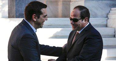 """رئيس الوزراء اليونانى لـ""""السيسى"""": حضوركم مثل الشمس الدافئة فى الشتاء البارد"""