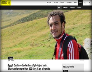 """منظمة ( العفو الدولية ) : اعتقال المصور الصحفي """" شوكان """" لأكثر من (800) يوم يُعد إهانة لحرية الصحافة"""