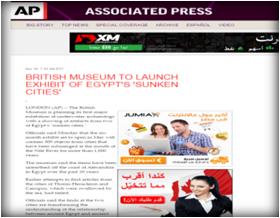 وكالة (أسوشيتد برس) الأمريكية : المتحف البريطاني يُدشن معرض عن المدن المصرية الغارقة