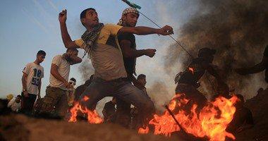 إصابة 6 فلسطينيين فى مواجهات مع قوات الاحتلال على حدود غزة