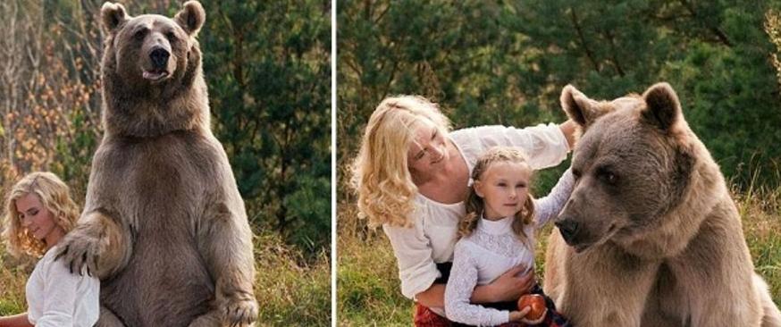 عارضة أزياء تعيش هي وابنتها مع دب ضخم!