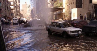 توقف حركة المرور فى الساحل بسبب كسر ماسورة مياه