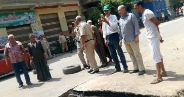 انفجار بخط المياه الرئيسى بقرية الدير بالخانكة ومجلس المدينة يسيطر عليها