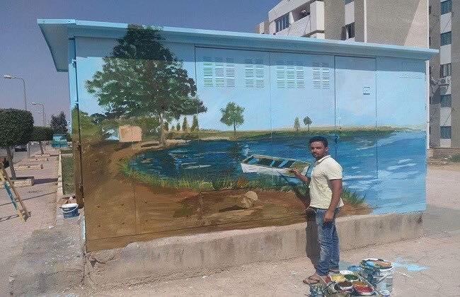فنان مصرى يحول أكشاك الكهرباء إلى لوحات فنية رائعة .. صور