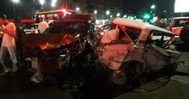 مصرع 5 وإصابة 2 آخرين إثر حادث تصادم ميكروباص وأتوبيس أعلى دائرى الوراق