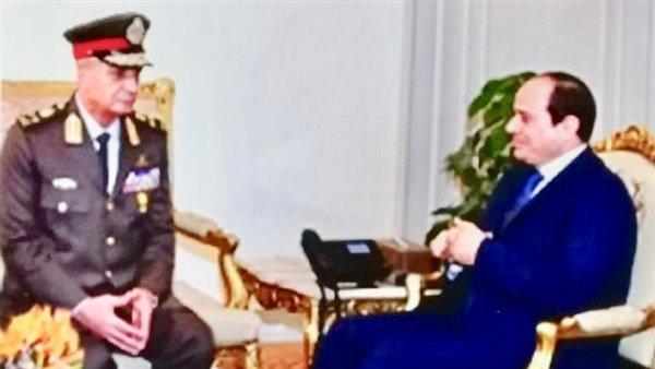الرئيس السيسى يلتقى القائد العام للقوات المسلحة وزير الدفاع والإنتاج الحربى