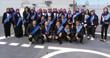 صور.. 70 طالبا من جامعتى الإسكندرية ومطروح فى زيارة للقاعدة البحرية
