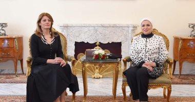 لقاء السيدة انتصار السيسى، قرينة الرئيس عبد الفتاح السيسى، وقرينة الرئيس البلغارى
