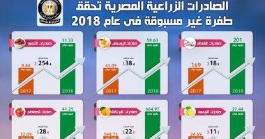 إنفوجراف.. الصادرات الزراعية المصرية تحقق طفرة غير مسبوقة فى عام 2018