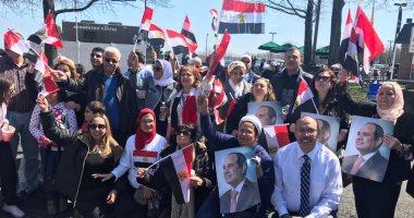 الجالية المصرية فى أمريكا تحتشد لاستقبال الرئيس السيسي