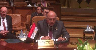 سامح شكرى: يجب مواجهة التدخلات الخارجية فى ليبيا وإنهاء الانفلات السياسى