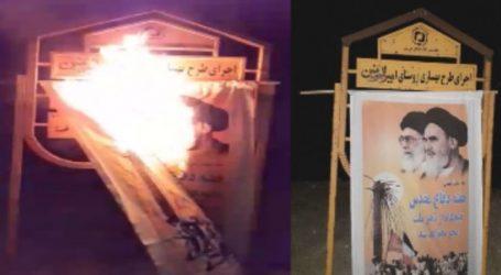 مظاهرات غاضبة في إيران.. وإشعال النيران بصور الخميني وروحاني