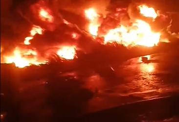 حريق هائل بخط بترول بإيتاي البارود في البحيرة