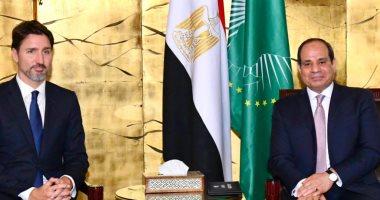 السيسى يلتقى رئيس وزراء كندا فى أديس أبابا لبحث التعاون الثنائى ومكافحة الإرهاب