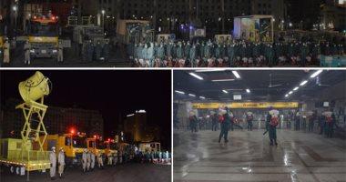 القوات المسلحة تطهر وتعقم مجمع التحرير والميادين والشوارع الرئيسية