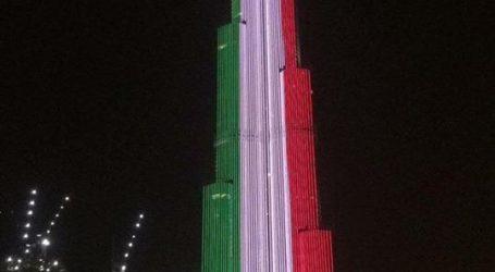 """برج خليفة يضىء بألوان العلم الإيطالى وعبارة """"نحن معكم"""" لمواجهة كورونا"""