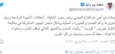 محمد بن زايد على تويتر: بحثت مع أخى عبد الفتاح السيسي جهود مكافحة كورونا