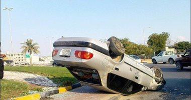 توقف حركة المرور وإصابة شخص إثر انقلاب سيارة بمنزل المقطم اتجاه السيدة عائشة