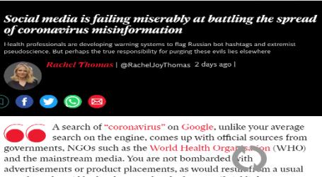 الاندبندنت : فشل ذريع لوسائل التواصل الاجتماعي في مواجهة كورونا