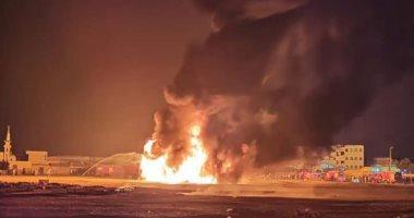 صور .. السيطرة على انفجار بحافلة وقود محملة بالعاشر من رمضان