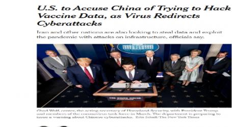 نيويورك تايمز :أمريكا تتهم الصين بإختراق بيانات خاصة بلقاحات فيروس كورونا