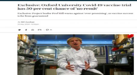 صحيفة التليجراف : تجارب لقاح تطوره جامعة أوكسفورد فرصة نجاحها ( 50 % ) بسبب بدء تلاشي الفيروس في بريطانيا