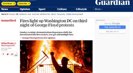 """الجارديان البريطانية : الحرائق تشتعل في العاصمة واشنطن لليوم الثالث بسبب الاحتجاجات لمقتل """" جورج فلويد """""""
