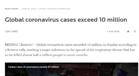 مقال مترجم لـوكالة (رويترز) البريطانية :عدد المصابين بفيروس كورونا في أنحاء العالم يتجاوز عشرة ملايين شخص