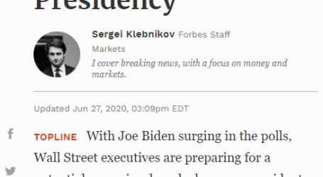 """مقال مترجم من مجلة (فوربس) الأمريكية :البورصة الأمريكية قلقة من رئاسة """"جو بايدن"""" المحتملة للولايات المتحدة"""