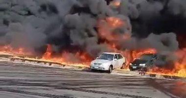 الصحة: ارتفاع حالات الإصابات بحريق طريق القاهرة – الإسماعيلية إلى 17 مصابا