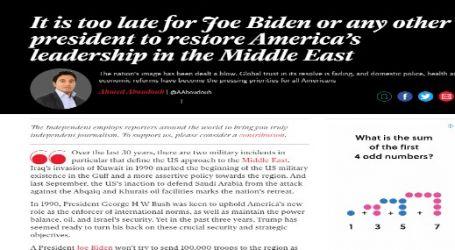 """الإندبندنت : هل فات الأوان بالنسبة لـ """" بايدن """" أو أي رئيس آخر لاستعادة الدور القيادي للولايات المتحدة في منطقة الشرق الأوسط"""