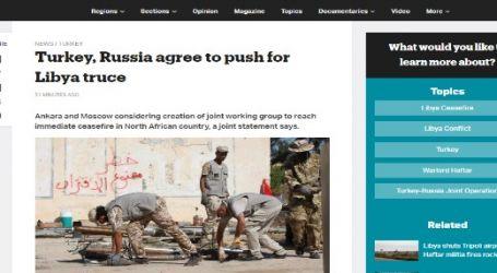 موقع قناة ( تي أر تي ) التركية : تركيا وروسيا تتفقان على الدفع نحو هدنة في ليبيا