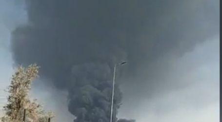 الدفع بعدد كبير من سيارات الإطفاء لإخماد حريق بسبب انفجار خط مازوت بطريق الإسماعيلية الصحراوى