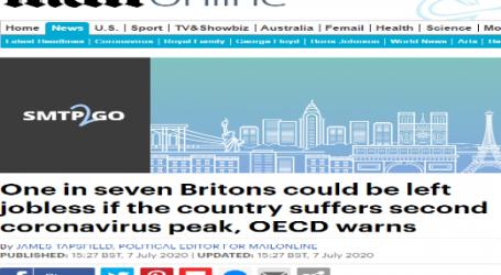 منظمة التعاون الاقتصادي والتنمية تحذر من أن واحد من كل 7 بريطانيين سيتعرضون للبطالة إذا ظهرت موجة ثانية لفيروس كورونا