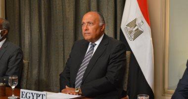 """شكرى يؤكد لـ""""جوتيريش"""" دعم مصر للحل السياسى الليبى بعيدا عن التدخلات الخارجية"""