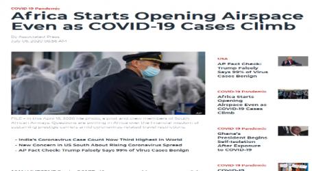 موقع (فويس أوف أمريكا ) : أفريقيا تبدأ فتح المجال الجوي بالرغم من تزايد حالات الإصابة بفيروس كورونا
