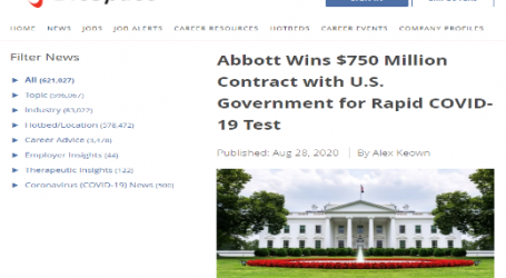 آبوت الأمريكية تحصل على عقد لإنتاج اختبار سريع للكشف عن كورونا