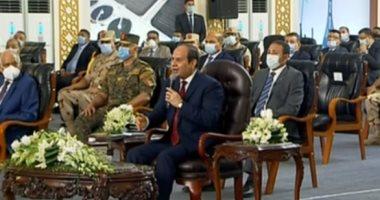 """السيسى للمصريين: """"القنوات المعادية بتكلمكم كلام لا يرضى ربنا"""" .. هذه المشاريع هي المصلحة للكل"""