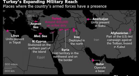 بلومبرج تنشر خريطة توسع الجيش التركي في عدد من دول العالم