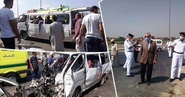 إصابة 14 شخصا فى حادث انقلاب ميكروباص على طريق بغداد الأقصر بالوادى الجديد