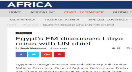 موقع ( سي جي تي إن ) الصيني – الناطق بالإنجليزية – وزير الخارجية المصري يناقش أزمة ليبيا مع الأمين العام للأمم المتحدة