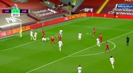 محمد صلاح يسجل ثاني أهدافه في مباراة ليفربول وليدز (فيديو)