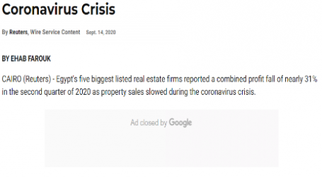 موقع (يو اس نيوز) الأمريكي :تراجع أرباح الشركات العقارية بمصر وسط أزمة كورونا