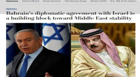 """صحيفة """" واشنطن بوست """" الأمريكية اتفاق البحرين الدبلوماسي مع إسرائيل هو حجر بناء نحو استقرار الشرق الأوسط"""
