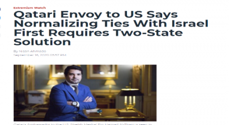 فويس أوف أمريكا:المبعوث القطري لدى الولايات المتحدة: التطبيع مع إسرائيل يتطلب حل الدولتين أولاً