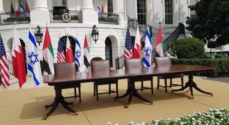طاولة توقيع اتفاق السلام بين الإمارات وإسرائيل بحديقة البيت الأبيض
