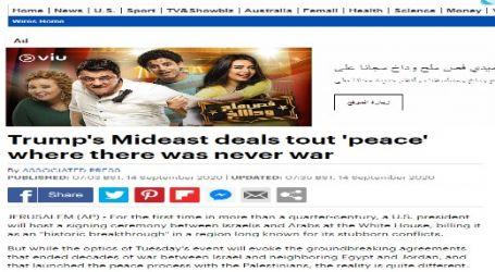 الحدث الان ينشر .. مقال مترجم لصحيفة ( ديلي ميل ) البريطانية بعنوان ( صفقات ترامب في الشرق الأوسط تروج للسلام في البلاد التي لم تحدث فيها حرب )