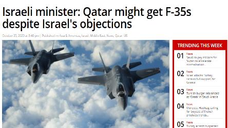 وزير إسرائيلي: قطر قد تحصل على طائرات طراز (إف-35) رغم اعتراضات إسرائيل