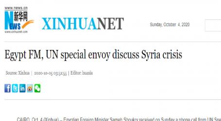 مقال مترجم .. وكالة (شينخوا) الصينية : وزير الخارجية المصري ومبعوث الأمم المتحدة يبحثان الأزمة السورية